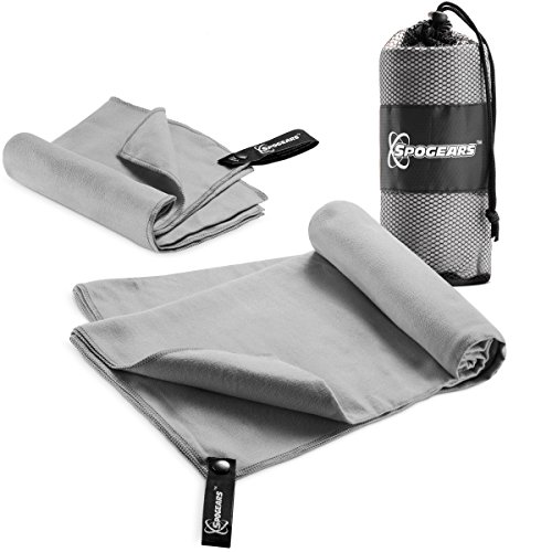 SPOGEARS Microfiber Towel Quick Dry Towel Set of 2 Includes Large Camping Towel 58x30'' + Small Gym Towel - 23x15
