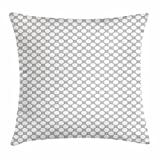 Grey Throw Pillow Cushion Cover, Arabian Style Tile Monochrome Geometric Mosaic Arabesque Oriental Grid Design, Decorative Square Accent Pillow Case, 18 X 18 Inches, Pale Grey White