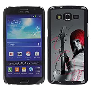 Be Good Phone Accessory // Dura Cáscara cubierta Protectora Caso Carcasa Funda de Protección para Samsung Galaxy Grand 2 SM-G7102 SM-G7105 // Punk Rock Red Head Girl
