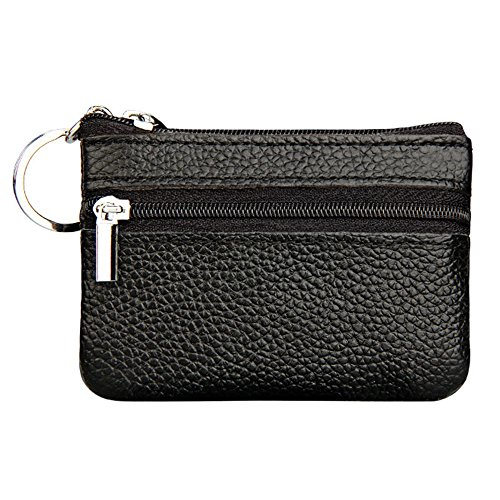 Kaimao Women Men Ladies Genuine Leather Mini Coin Pouches Key Purse Wallet (Replacement Black Leather Carrier)
