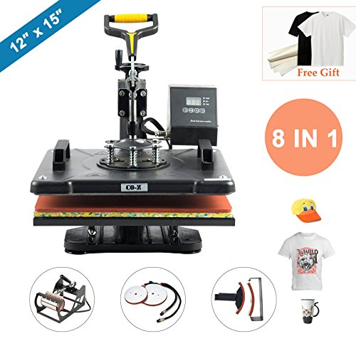 "CO-Z 8 in 1 12"" X 15"" Heat Press 360 Degree Swivel Heat Press Machine Multifunction Sublimation Combo T Shirt Press Machine for Mug Hat Plate Cap Mouse Pad ()"