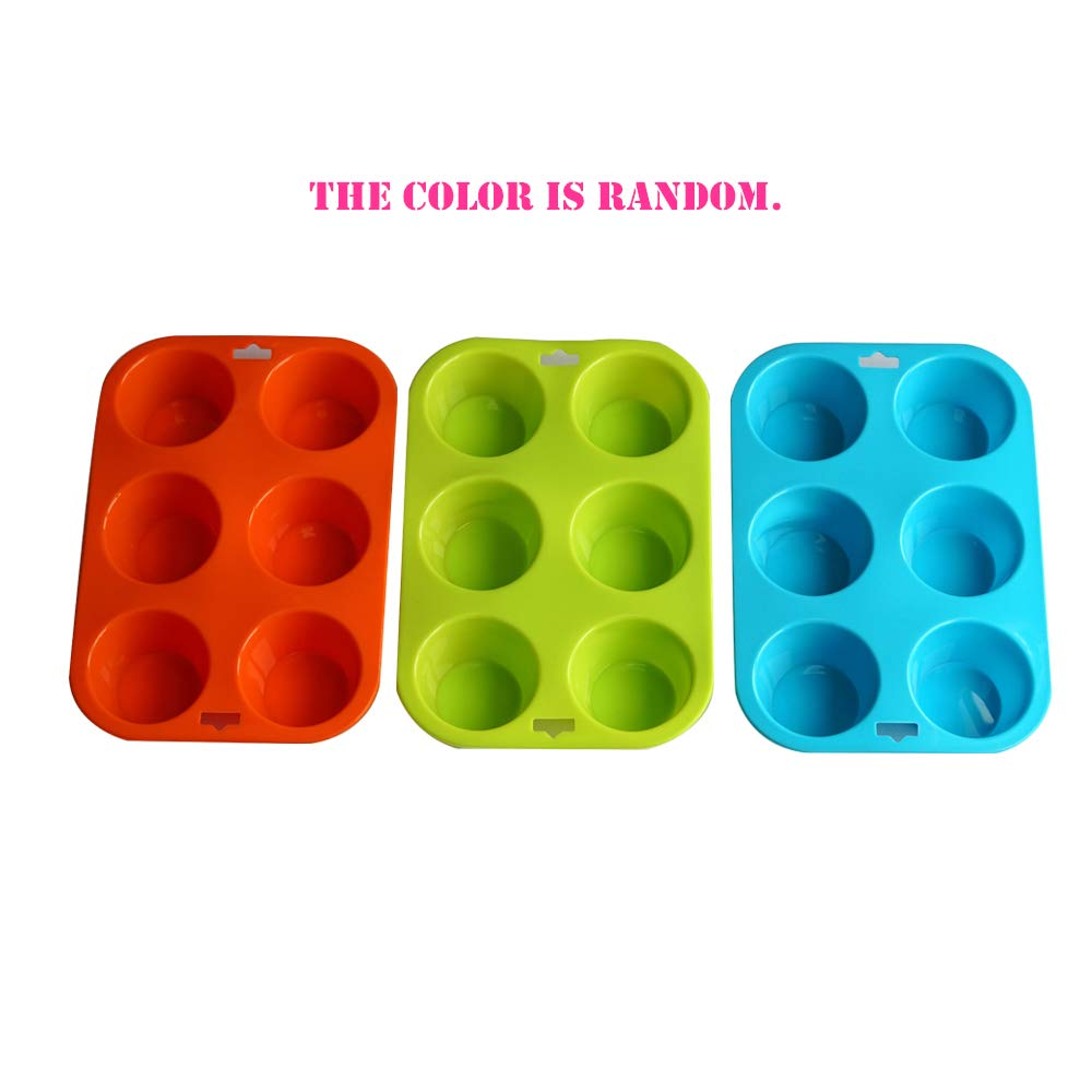 Set of 2 Mirenlife 6 Cups Non-Stick Silicone Muffin Pan and Cupcake Maker