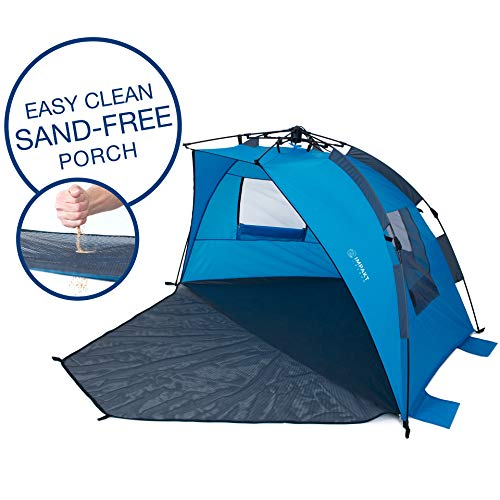 Impakt Ocean Beach Tent with Easy Clean Sand-Free Porch, 4 Person XL Deluxe Tent, Easy Setup Pop Up Sun Shade, Wind Blocker
