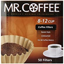 Rockline Industries Mr. Coffee Basket Coffee Filters, 8-12 Cup, Natural Brown, 8-Inch, 50-Count Boxes (Pack of 12)