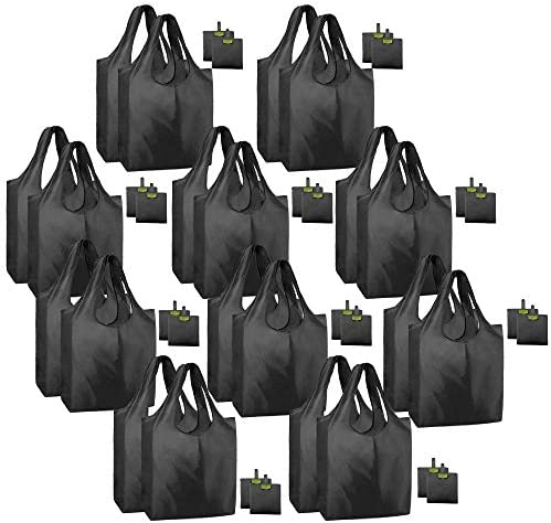 20 Pack Black Reusable Grocery Shopping Bags Foldable Machine Washable Bulk Shopping Tote Bags Polyester Fabrics Large Capacity