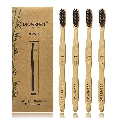 Dr.Perfect Natural Bamboo Toothbrush [4-Pack] Medium Soft Natural Bristles Individual Sealed Bag Packing (Black)