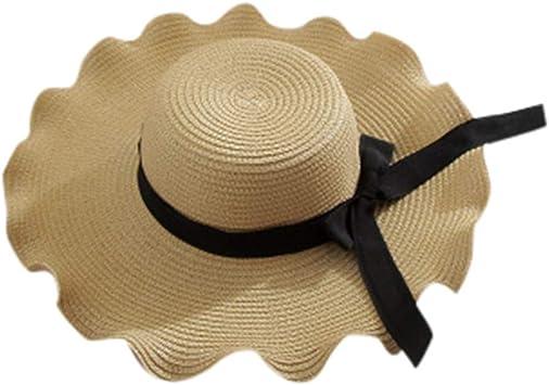 Women/'s Crushable Packable Brim Straw Paper Floppy Hat Beige SPF50 Beach Flower