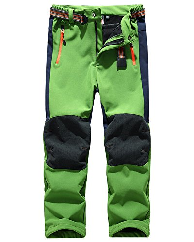 Kids' Outdoor Hiking Soft Shell Windproof Pants, Warm Climbing Trousers for Boys Girls#16010-Green,US XS