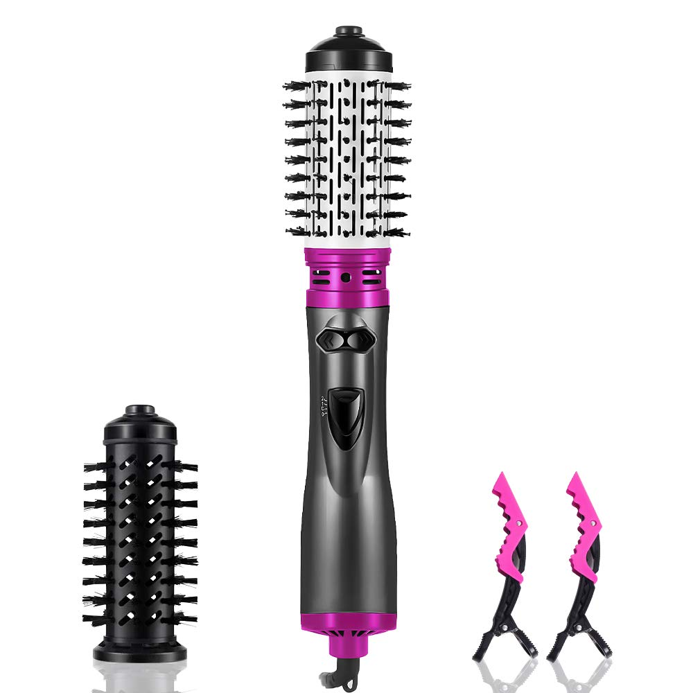 Hair Dryer Brush 3-in-1 Hot Air Brush Negative Ion Hair Straightener for Styling Frizz Auto-Rotating Curling Brush Hair Dryer purple