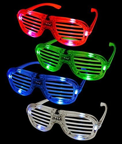 12ct LED Light Up Slotted Shades Sunglasses - Assorted Flashing Lights, Model: , Toys & - Models With Sunglasses