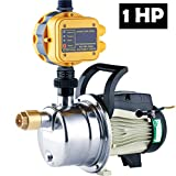 TDRFORCE 1 HP Pressure Booster Pump Automatic Water Pump Tankless Shallow Well Self-priming Jet Pump System (Color: Yellow, Tamaño: JETS-100)