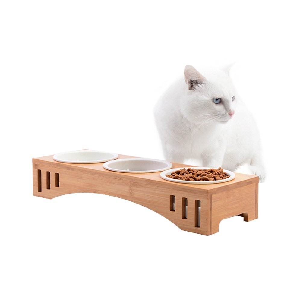 Petacc Elevated Pet Bowl Raised Dog Bowl Cat Food Feeder, Combined with Bamboo Stand and 3 Ceramic Bowls