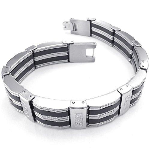KONOV Mens Stainless Steel Bracelet, Biker Link Cuff Bangle, Black Silver