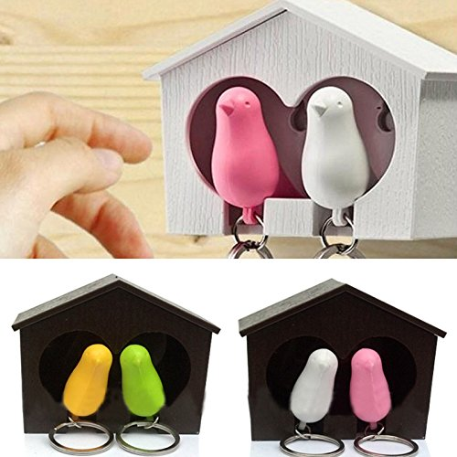 - Bhbuy Lover Sparrow Birdhouse Keychain Home Wall Hook Bird Nest Holder Key Ring New (White birdhouse)