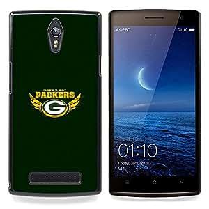 """Qstar Arte & diseño plástico duro Fundas Cover Cubre Hard Case Cover para OPPO Find 7 X9077 X9007 (Green Bay Packer"""")"""