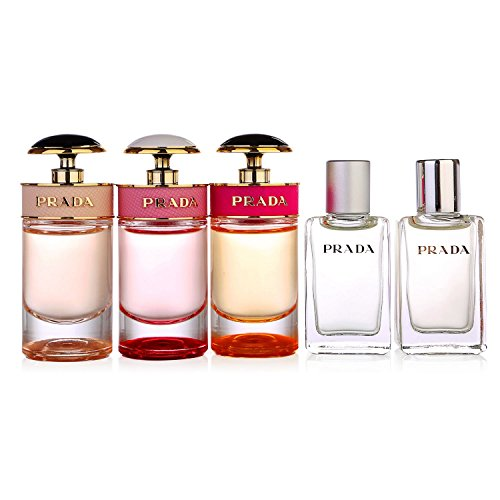 - Prada 5pcs Miniature Set for Women : Prada Candy 7ml Edp+ Infusion D'iris 8ml Edp + Candy L'eau 7ml Edt + Candy Florale 7ml + Infusion D'iris 8ml Edt