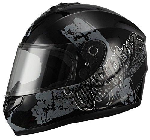 "TRIANGLE Motorcycle Helmets Full Face ""Graffiti Cross"" Street Bike [DOT] (Medium, Glossy Black/Gray)"