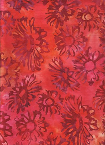 (Robert Kaufman Posies 3 Batik Fabric ~ Ruby Red Daisy Faces ~ HALF YARD!! ~ Daisies Stamped on Red Color Saturated Batik Quilt Fabric 100% Cotton 45