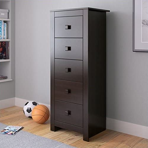 Atlin Designs Tall Boy Chest of Drawers Dresser in Rich Espresso