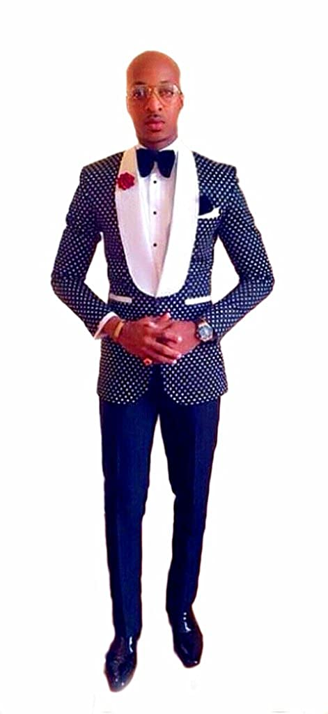 a3af7e4990a auguswu One Button Polka Dot Mens Suits Slim Fit Tuxedos 2 Piece Sets at  Amazon Men s Clothing store