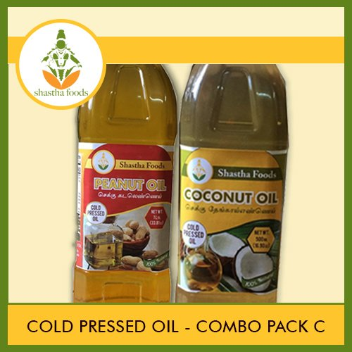 Shastha Cold Pressed (Chekku) Oil (Combo Pack C) Contains 8 Items