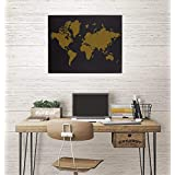 World Map Wall Decor Black and Gold - Custom Laser Engraved - Holiday, Birthday Gift