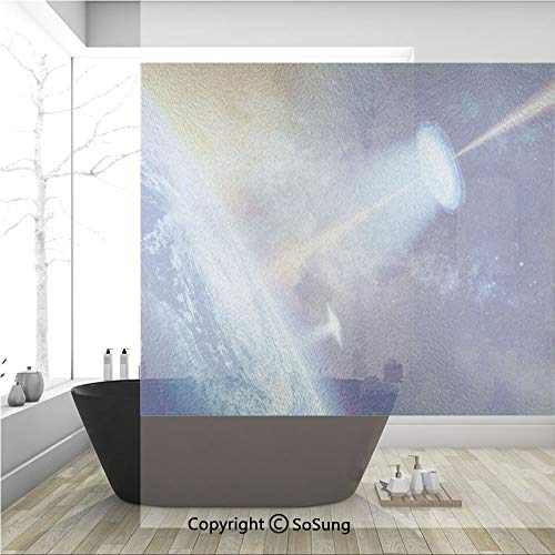 (3D Decorative Privacy Window Films,Ufo Shines Spotlight on Earth Secret Experiment Climate Change Terrestrial Fiction,No-Glue Self Static Cling Glass film for Home Bedroom Bathroom Kitchen Office 36x3)