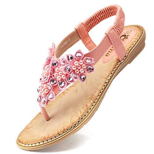 Odema Women's Bohemian Flat Sandals Elastic Slip On Flower Rhinestone Flip Flop Shoes Pink
