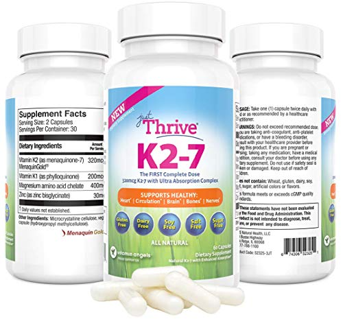 Just Thrive: Vitamin K2-7 - Bone and Heart Health Supplement - 30 Day Supply - 320mcg with Ultra Absorption - Protects Against Tooth Decay - Support Heart, Circulation, Brain, Bones, & Nerve Health