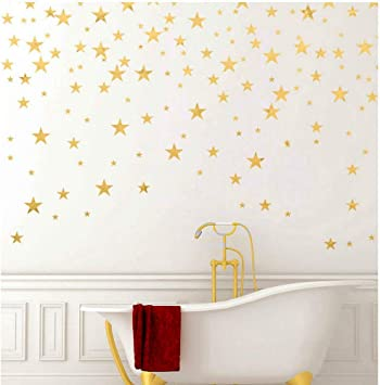 Gold Stars Wall Decal (130 Decals) Stars Pattern DIY Wall Stickers  Removable Home Decoration Metallic Vinyl Polka Wall Decor Sticker for Baby  Kids ...