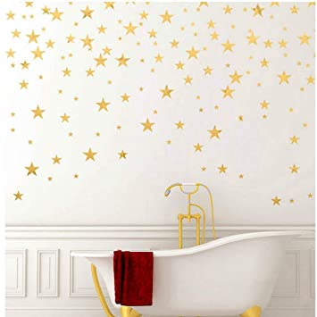 Gold Stars Wall Decal 130 Decals Stars Pattern Diy Wall Stickers Removable Home Decoration Metallic Vinyl Polka Wall Decor Sticker For Baby Kids