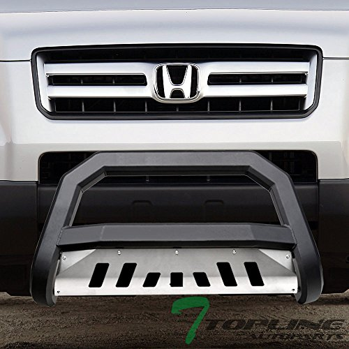 Topline Autopart Matte Black AVT Style Bull Bar Brush Push Front Bumper Grill Grille Guard With Aluminum Skid Plate For 03-08 Honda Pilot ; 06-14 Ridgelin
