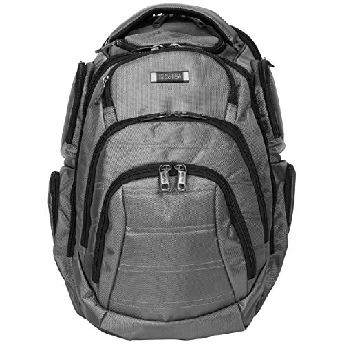 "Kenneth Cole Reaction Pack-of-All-Trades Triple Compartment Multi-Pocket 17.0"" Laptop & Tablet Business Travel Backpack, Charcoal"