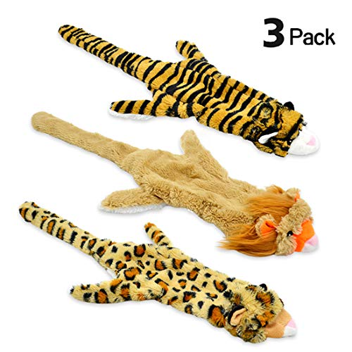 (UOLIWO Stuffless Dog Toys with Squeaker, Durable No Stuffing Squeaky Plush Dog Chew Toys Flat Lion Tiger Leopard for Small Medium Large Dogs Set of 3)