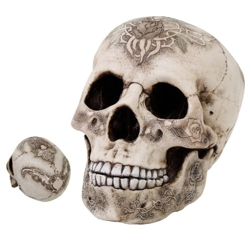 Skull With Rose Tattoo Cult Secret Society Ancient Time Figurine Statue Skeleton
