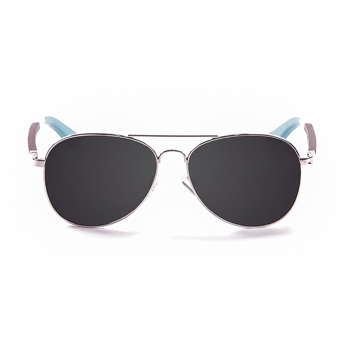Paloalto San Diego Sonnebrille, Unisex, Erwachsene, silber-Metall/Holz/Dunkelblau