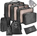 Voniry 8 Set Packing Cubes - Waterproof Mesh Compression Travel Luggage Packing Organizer with Shoes Bag