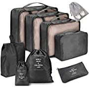 Voniry 8 Set Packing Cubes – Waterproof Mesh Compression Travel Luggage Packing Organizer with Shoes Bag(Black)