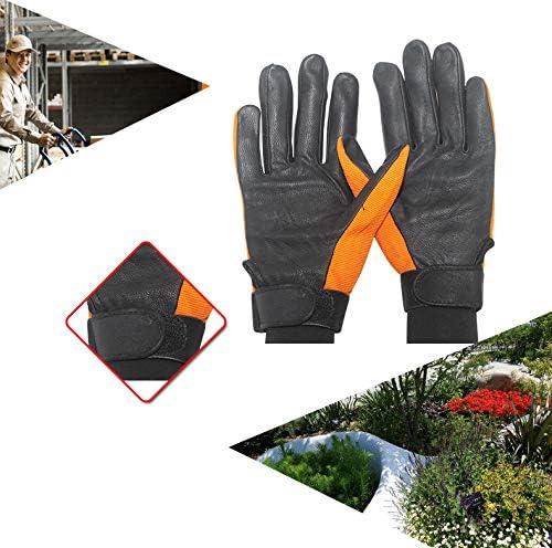 手袋 日常 実用 機関車のフィットネスクライミングオートバイ日常スポーツドライビンググローブに乗ってシープスキンハーフレザー手袋 (Color : Yellow, Size : XL)