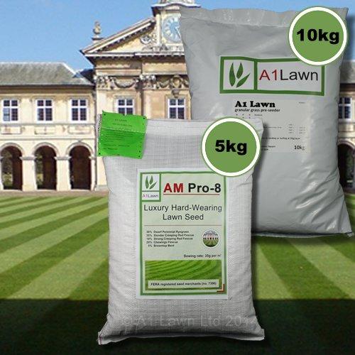 5kg A1LAWN AM PRO-8 LUXURY HARD-WEARING GRASS SEED & 10kg PRE-SEEDER FERTILISER (MULTI-SAVE PACK)