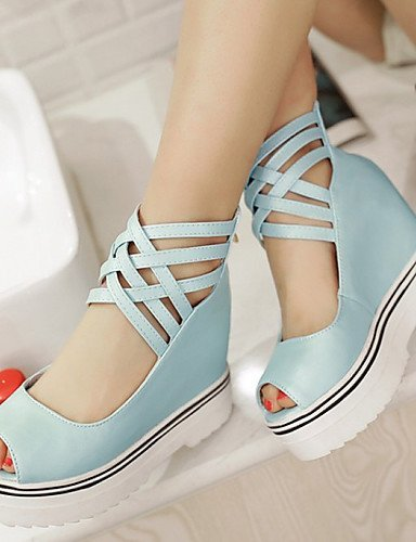 ShangYi Womens Shoes Leatherette Wedge Heel Peep Toe / Fashion Boots Sandals Office & Career / Dress / Blue / Pink / White Blue