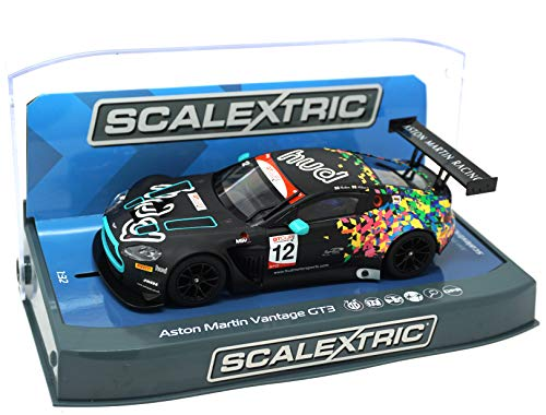 Slot Car Brands - Scalextric Aston Martin GT3 Vantage Brands Hatch GT Cup 2017 1:32 Slot Race Car C3945, Black & Multi Colored