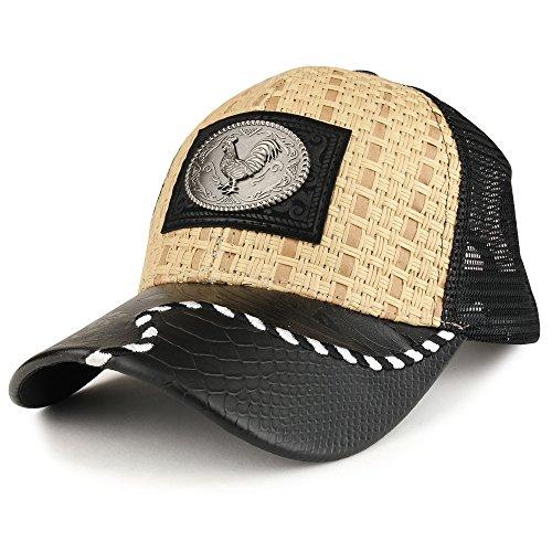 e98c2523598 Trendy Apparel Shop Straw Design Metallic Rooster Logo Trucker Mesh  Adjustable Baseball Cap - Tan Black - Buy Online in Oman.