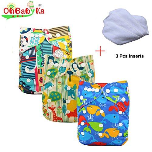 Ohbabyka Baby Reusable Waterproof Bamboo Cloth Diapers Nappies 3pcs, 3Pcs Inserts (Boys Multi-color01)