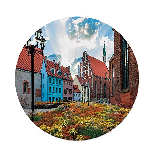 (iPrint Polyester Round Tablecloth,Victorian Decor,Old City Riga Latvia Capital Historical Buildings Medieval Town Image Decorative,Multicolor,Dining Room Kitchen Picnic Table Cloth Cover Outdoor in)