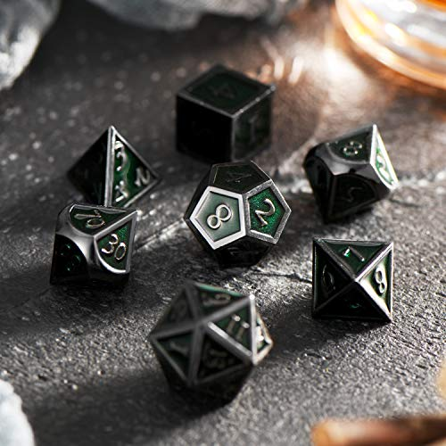 Hestya 7 Pieces Metal Dices Set DND Game Polyhedral Solid Metal D&D Dice Set with Storage Bag and Zinc Alloy with Enamel for Role Playing Game Dungeons and Dragons, Math Teaching (Black Edge Green)
