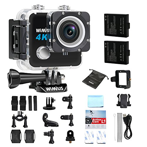 "Action Camera 4k FPV WIMIUS L1 SONY Sensor Wifi 20MP Waterproof Sports Camera 2.0"" 170°Wide Angle + 2 Batteries + 20+Accessories Kits-Black"