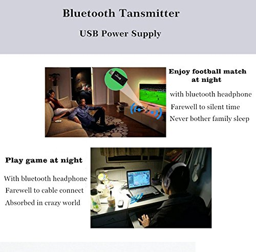 Bluetooth Transmitter USB, 3,5mm Portable Wireless Audio Adapter trasmitter Support Two Bluetooth Headphones/Speakers Simultaneously for TV/MP3/MP4 USB Power Supply by Yunjing (Image #4)