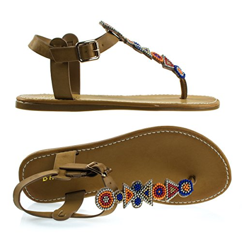 Flat Thong Sandal w Tribal Beaded T-Strap & Adjustable Ankle Buckle Natural Xp1DNmV8h