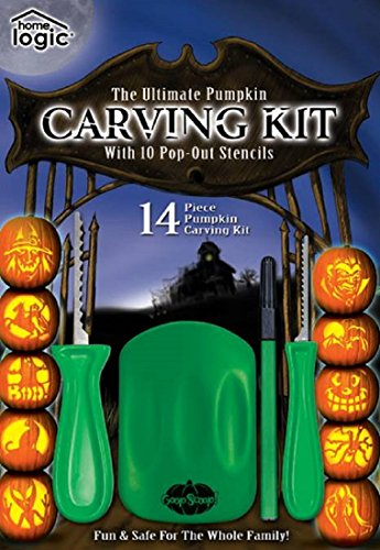 Ultimate Pumpkin Carving Kit Jack O Lantern Stencils Goop Scoop Knife Halloween -